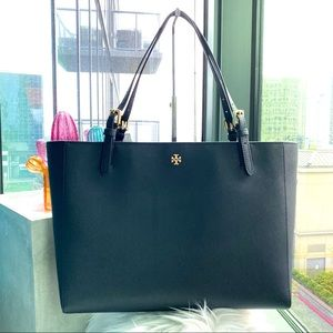 Tory Burch Navy Blue Large Emerson Buckle Tote